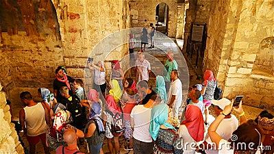 Eine große Gruppe von Touristen versammelte sich in der Nähe des Reiseführers und hört aufmerksam auf die Geschichte stock video