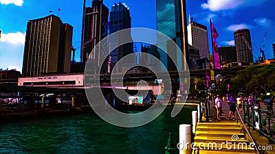 Eine Tmelapse von Bajoraum am Circular Quay in Sydney-Breitbild-Tilt stock footage