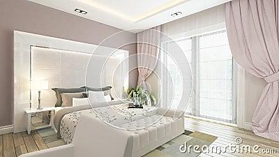 Modernes Weißes Und Rosa Schlafzimmer Stock Abbildung - Bild: 48538696 Schlafzimmer Grau Rosa