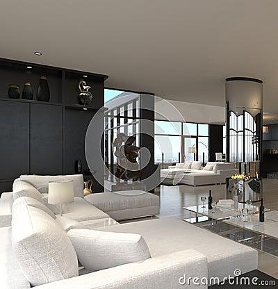 Moderner Wohnzimmerinnenraum | Entwurfs-Dachboden