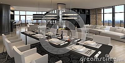 Moderner Wohnzimmerinnenraum   Entwurfs-Dachboden