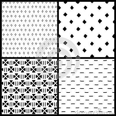 einfache ethnische geometrische nahtlose schwarzweiss muster stellen ein vector vektor. Black Bedroom Furniture Sets. Home Design Ideas