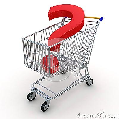 Einkaufswagen mit Frage