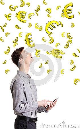 Einkommen auf Devisen- oder Internet-Konzept.