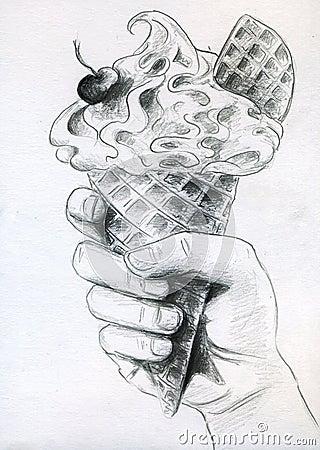 Eiscreme in der Hand