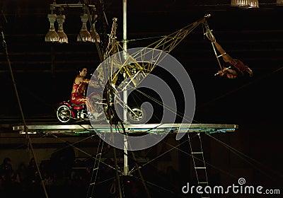 Ejecutantes de circo de la capilla Fotografía editorial