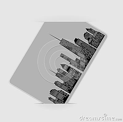 Ejemplo del vector de la silueta de las ciudades. EPS 10.