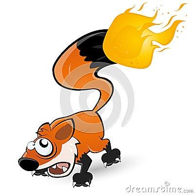 Fox con la cola en el fuego