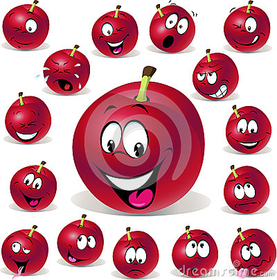 Ejemplo rojo de la historieta del ciruelo con muchos expresión