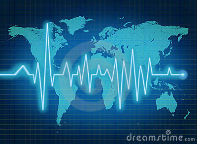 EKG ECG world health economy blue map