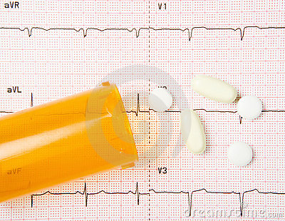 EKG, Heart Pills, And Bottle