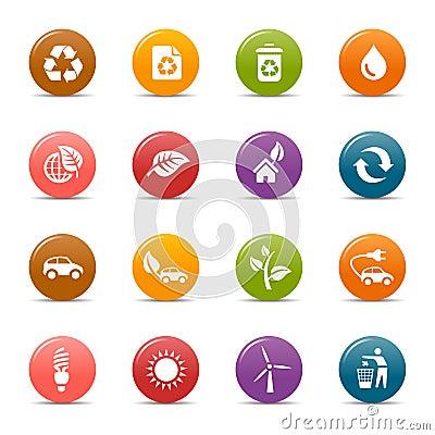 Ekologiska symboler för kulöra prickar