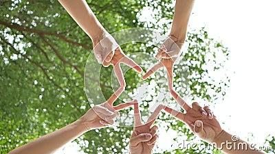 El ángulo bajo tiró de debajo de un grupo de 5 personas jovenes pone sus manos juntas sobre el cielo y árboles en el centro de un almacen de metraje de vídeo