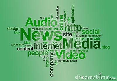 El â de las noticias y de los media redacta la nube