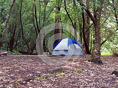 El acampar de la tienda