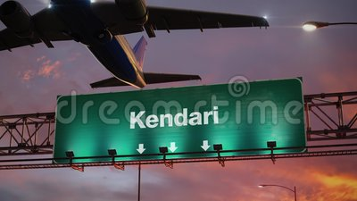 El aeroplano saca Kendari durante una salida del sol maravillosa almacen de metraje de vídeo