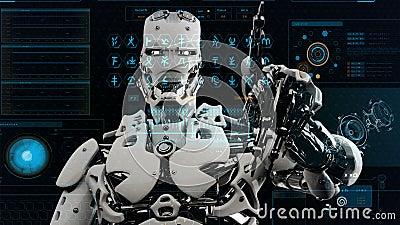 El Androide Del Robot Pulsa Las Teclas En La Pantalla De La Ciencia Ficción Fondo Realista Del Movimiento 4k Almacen De Video Vídeo De Pantalla Movimiento 121226149