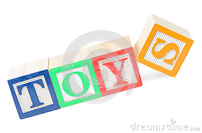 El bebé bloquea los juguetes del deletreo