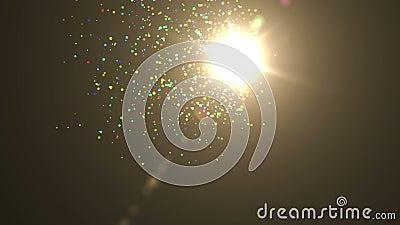 El bucle perfectamente transparente presenta partículas coloridas y brillantes que flotan en la pantalla con un color oscuro Punt almacen de video