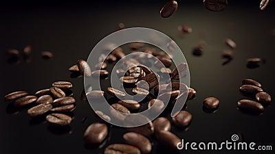 El caer de la cámara lenta de los granos de café