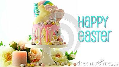 El candyland de Pascua gotea la torta con el conejito del chocolate y el saludo animado del texto metrajes