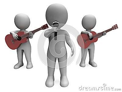 El cantante And Guitar Players muestra concierto o la ejecución de la banda