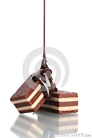 El caramelo de ?hocolate vertió el chocolate