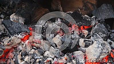 El carbón de leña candente que brilla intensamente lentamente en el brasero grande de la barbacoa, fuego del incendio provocado p metrajes