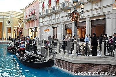 El casino veneciano del hotel turístico en Las Vegas Imagen de archivo editorial