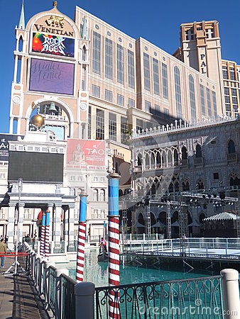 El casino veneciano del hotel turístico en Las Vegas Foto de archivo editorial