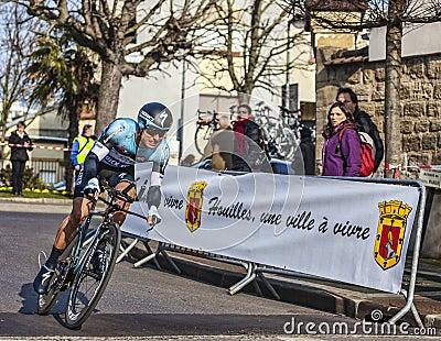 El ciclista Juan Meersman- París Niza Prolo 2013 Foto editorial