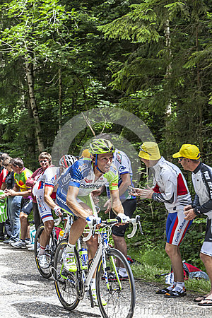 El ciclista Kristijan Koren Imagen de archivo editorial