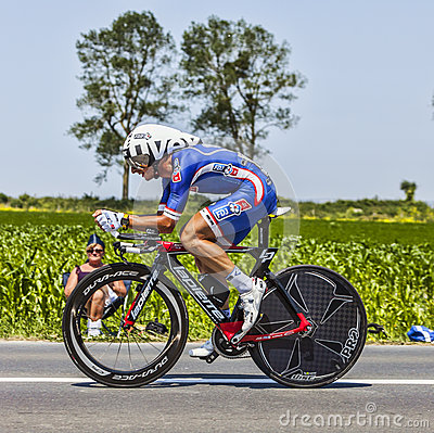 El ciclista Pierrick Fedrigo Foto editorial