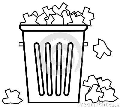 El desbordar con basura