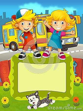 El grupo de niños preescolares felices - ejemplo colorido para los niños