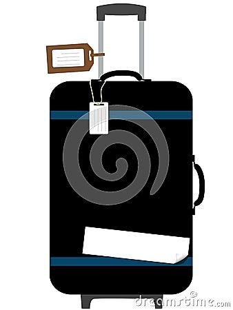 El equipaje del copyspace de la maneta del tirón de la maleta marca Sticke con etiqueta