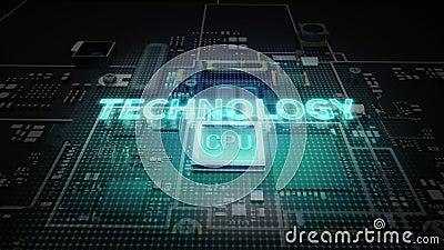 El error tipográfico 'TECNOLOGÍA' del holograma en el circuito de microprocesador de la CPU, crece tecnología de inteligencia art