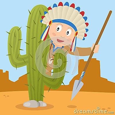 El estar al acecho indio detrás de un cactus