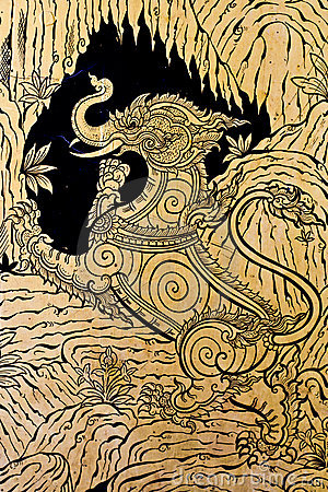 El estilo tailandés verdadero, pintura craftman de se imagina