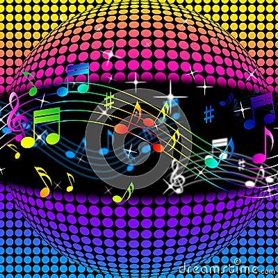 El fondo de la bola de discoteca de la m sica muestra - Bola de discoteca de colores ...