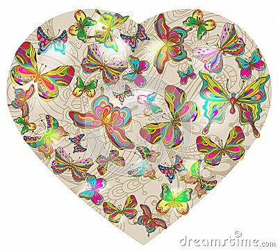 El fondo de la tarjeta del día de San Valentín hermosa con el corazón y la mariposa