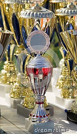 El fondo hecho de muchos defiende las tazas del trofeo