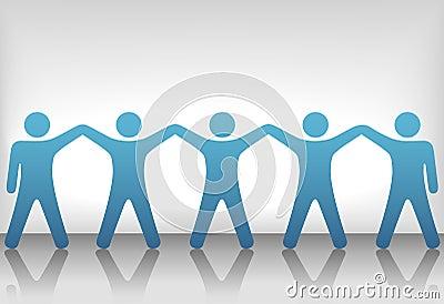 El grupo de personas celebra trabajo en equipo en fondo