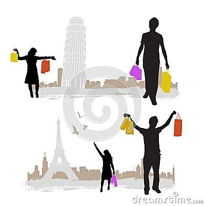 El hacer compras con la torre de la ciudad