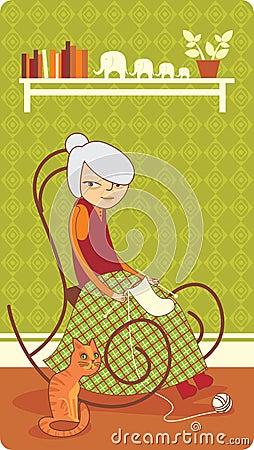 El hacer punto de la señora mayor