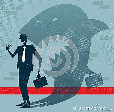 El hombre de negocios abstracto es un tiburón en disfraz.