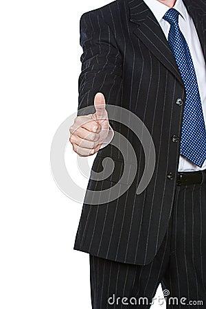 El hombre de negocios manosea con los dedos para arriba