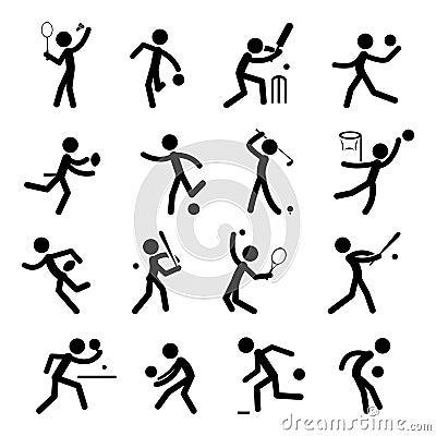 El icono del pictograma del deporte fijó 01
