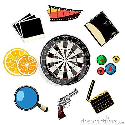 Iconos del viaje y de los juegos