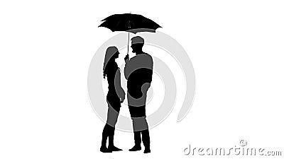 El individuo abre el paraguas y besan a la muchacha Fondo blanco Silueta almacen de metraje de vídeo
